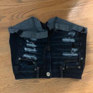 American Eagle Dark Wash Ripped Denim Shorts